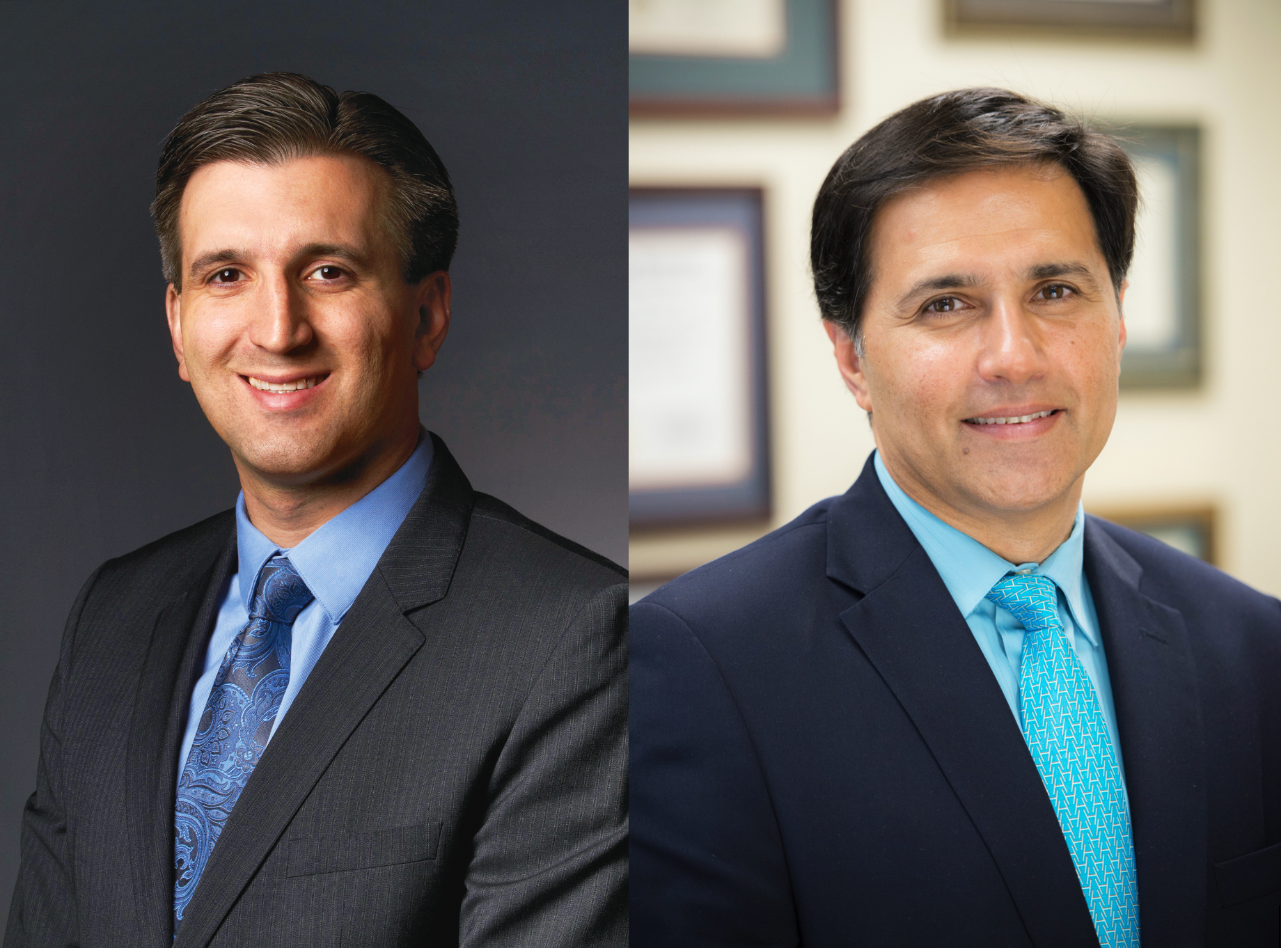 Vitreoretinal surgeons Amir Kashani, MD, PhD (left) and Mark Humayun, MD, PhD (right) pioneered a new surgical procedure to treat dry age-related macular degeneration.