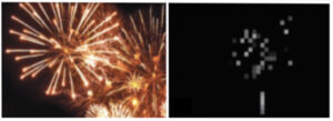 The Argus II retinal prosthesis enables patients with complete retinal blindness to see the shapes of objects in their surroundings, such as this Fourth of July fireworks show.